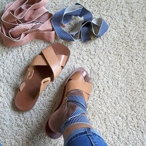 BRAND NEW ZARA NATURAL LEATHER LACE UP SANDALS